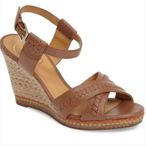 Jack Rogers Abbey Wedge Sandals Tan Brown Size 9.5